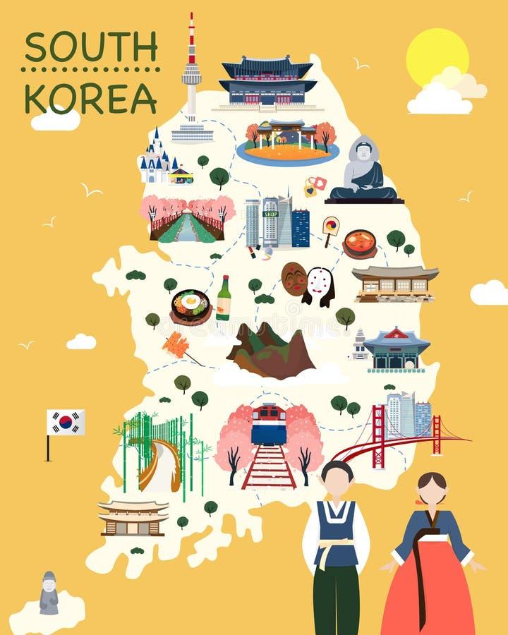 Mapa del vector y del ejemplo de las atracciones de Corea libre illustration