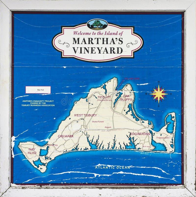 Mapa del viñedo del ` s de Martha, Massachusetts imagen de archivo