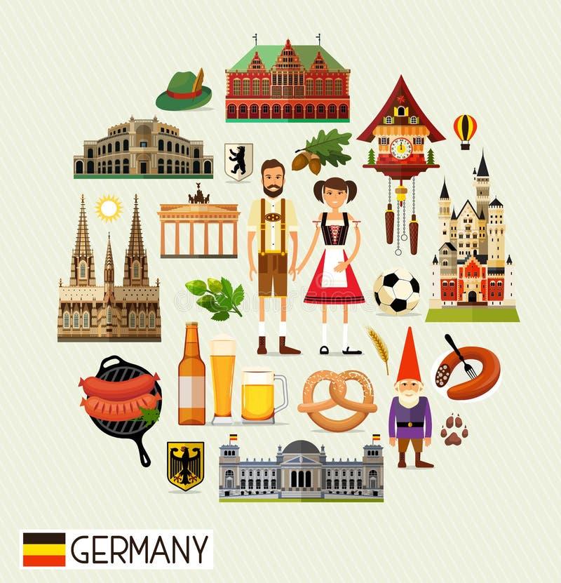 Mapa del viaje de Alemania stock de ilustración