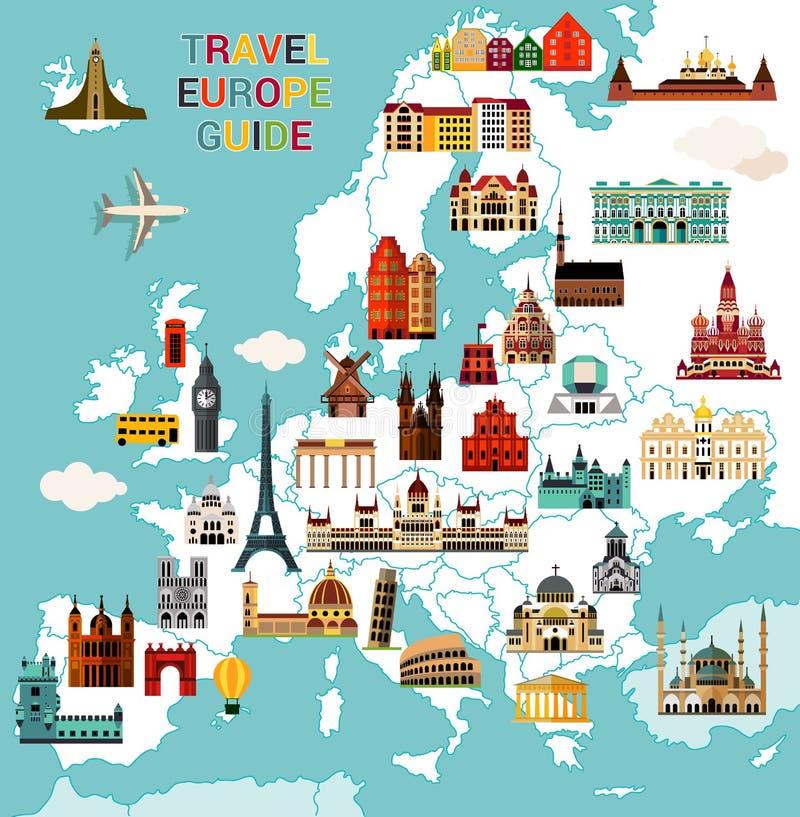 Mapa del viaje de Europa libre illustration