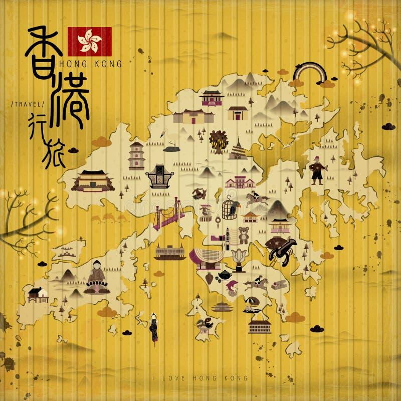 Mapa del viaje de Hong Kong stock de ilustración