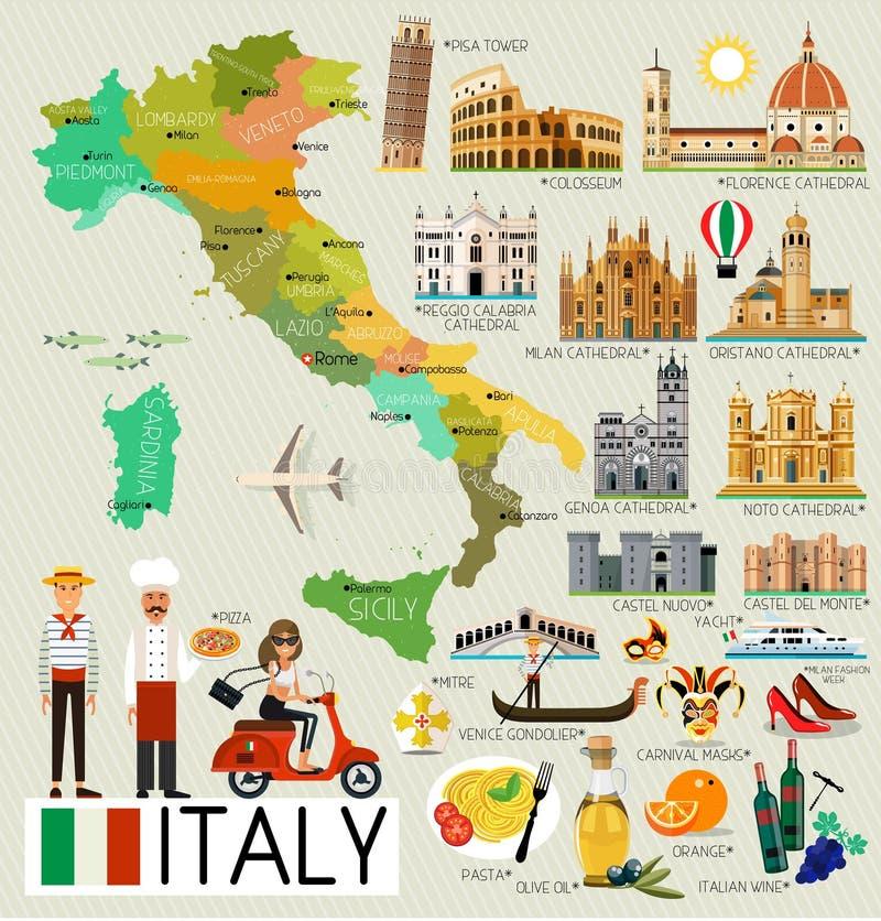 Mapa del viaje de Italia ilustración del vector