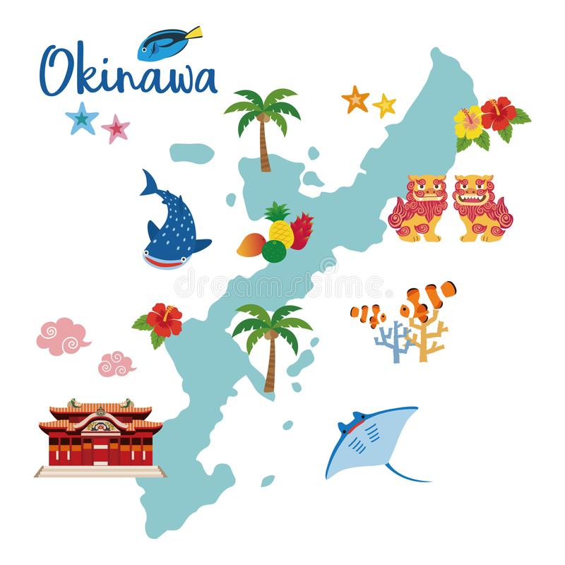 Mapa del viaje de Okinawa con especialidades locales libre illustration
