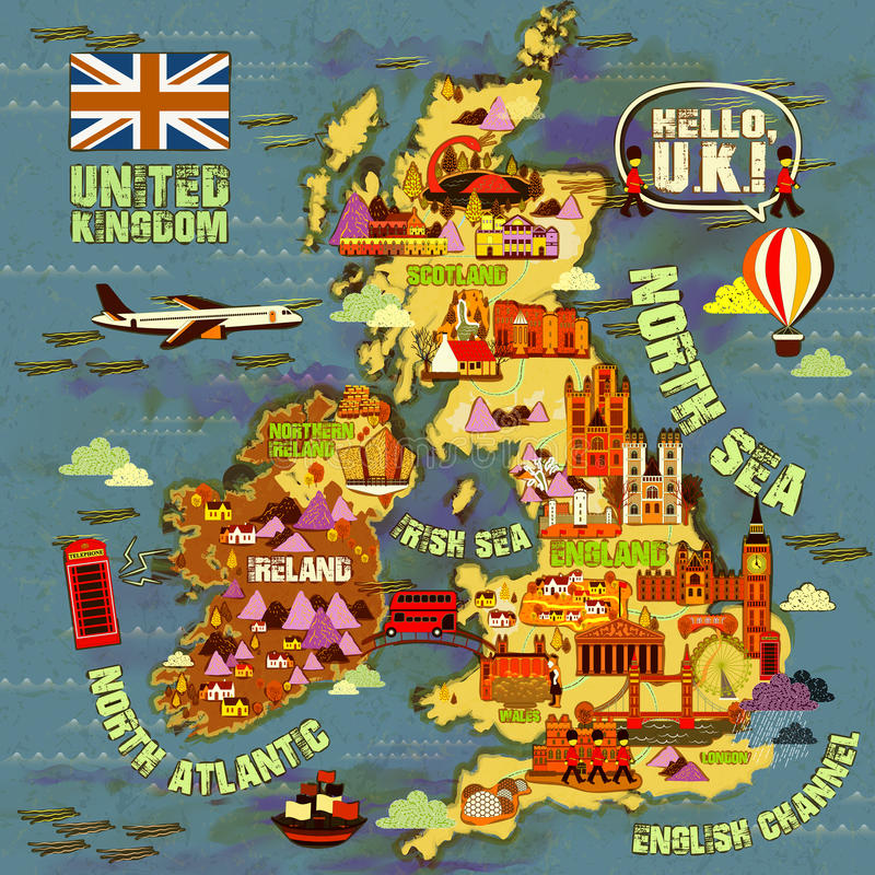 Mapa del viaje de Reino Unido libre illustration