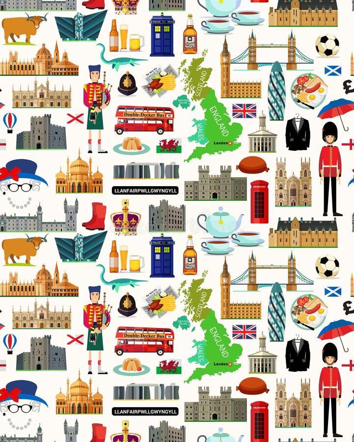 Mapa del viaje de Reino Unido Modelo inconsútil del viaje de Reino Unido Ilustración del vector ilustración del vector