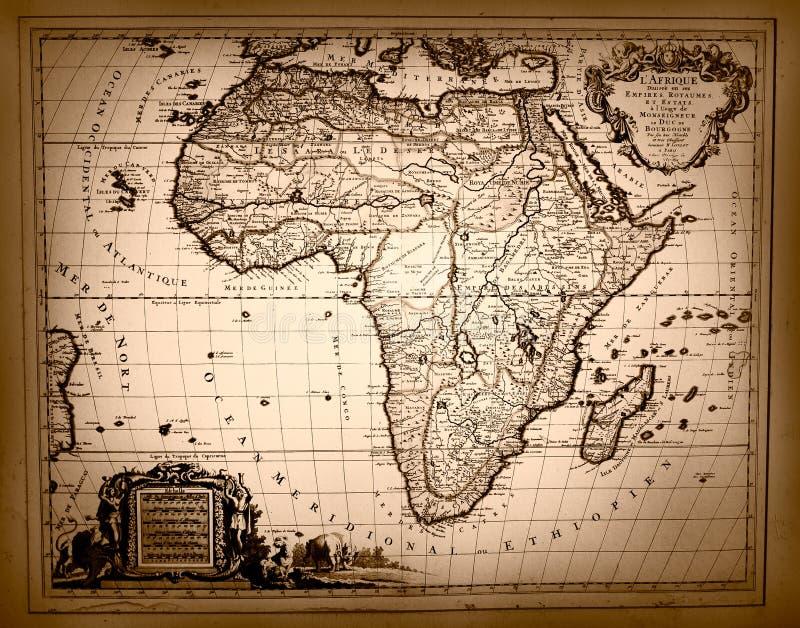 Mapa del vintage de África imagen de archivo