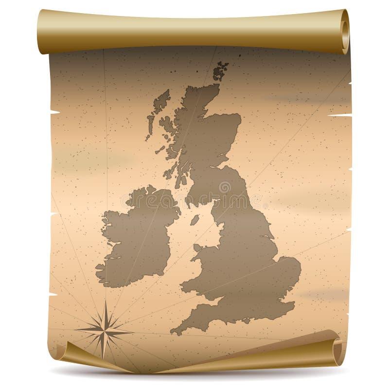 Mapa del vintage de Reino Unido del vector stock de ilustración