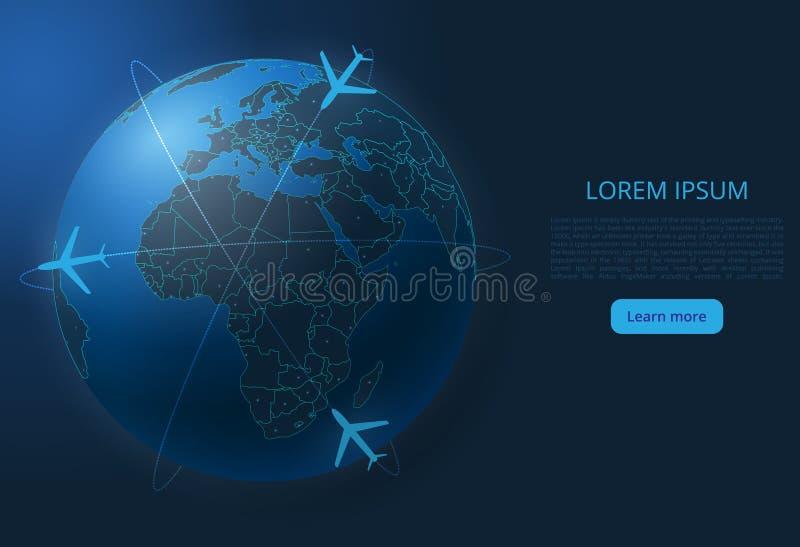 Mapa del vuelo del mundo Imagen del vector de un mapa global con las luces bajo la forma de ciudades del mundo ilustración del vector