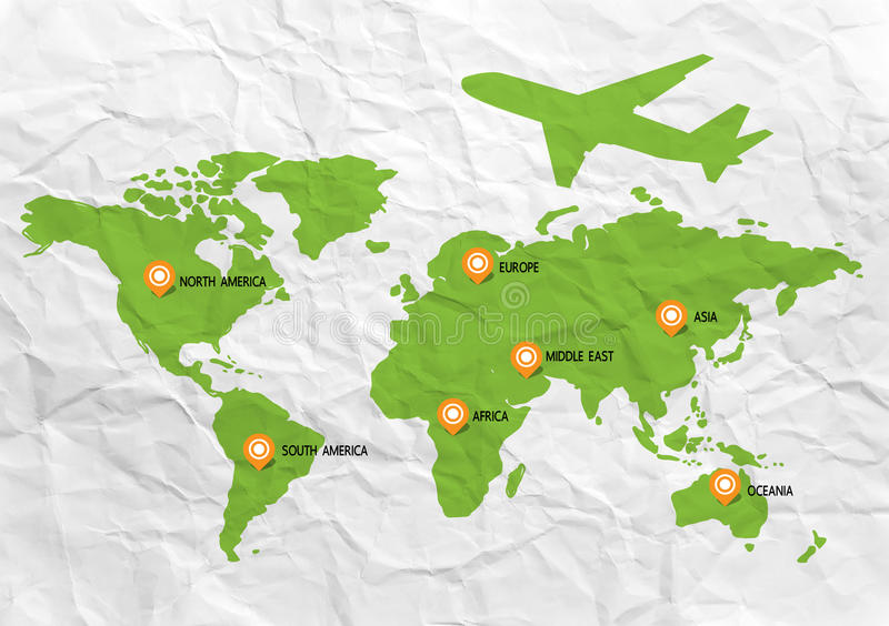Mapa del World Travel stock de ilustración