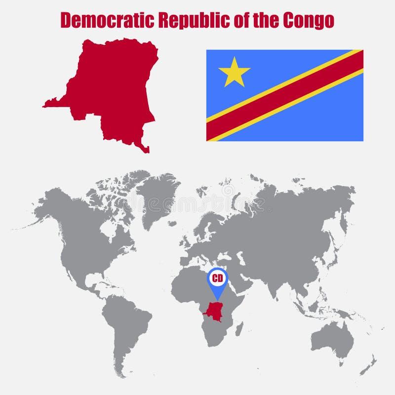 Mapa Democrática da República Democrática do Congo em um mapa do mundo com o ponteiro da bandeira e do mapa Ilustração do vetor ilustração do vetor