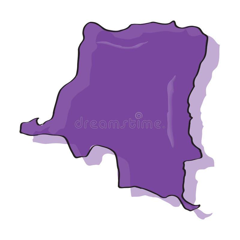 Mapa Democractic republika Kongo ilustracji