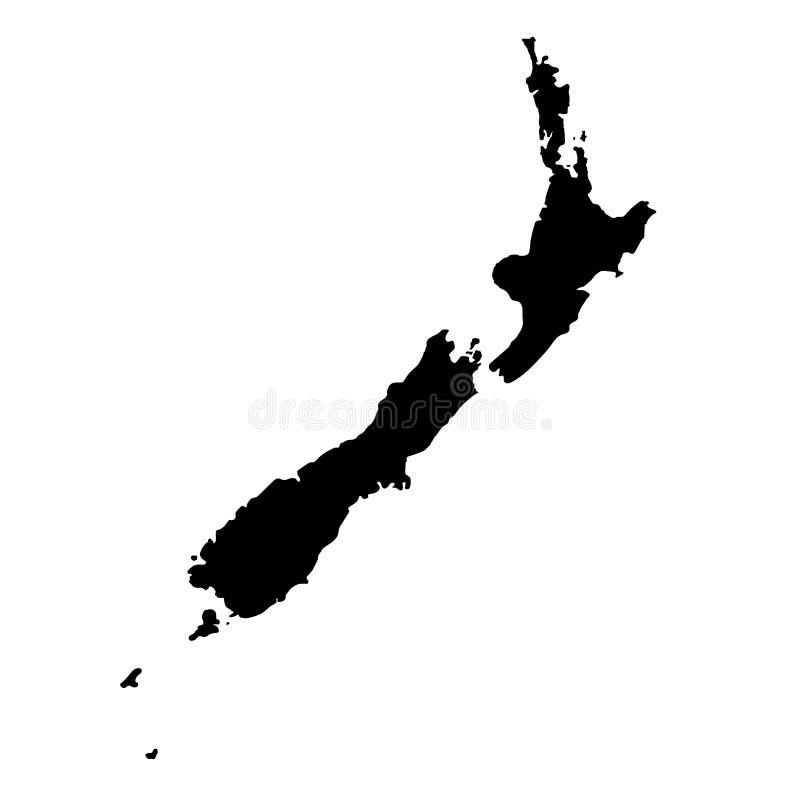 Mapa detalhado alto do vetor de Nova Zelândia Oceania, ilha, parte da ilustração do vetor do mundo ilustração stock