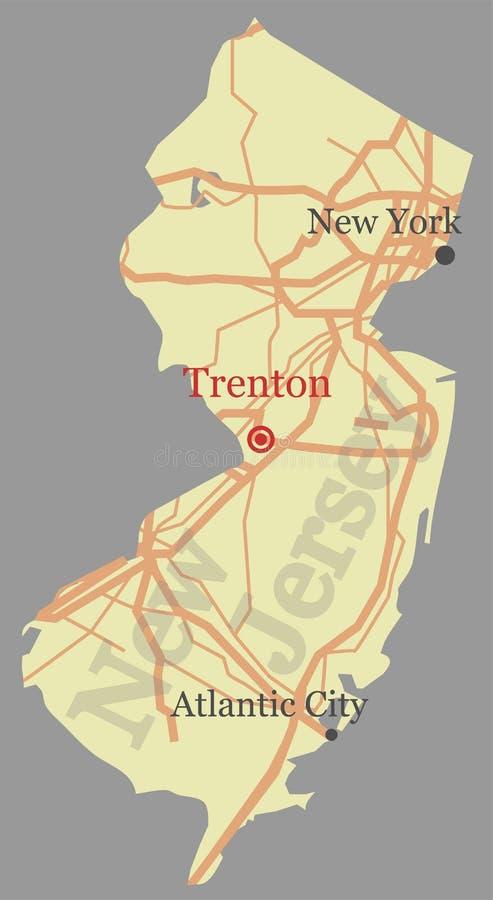Mapa detalhado alto exato do estado do vetor de New-jersey com Communit ilustração royalty free