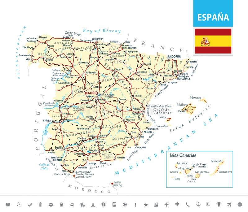 Mapa detalhado da Espanha ilustração do vetor