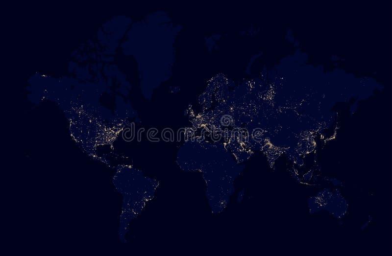 Mapa detalhado da noite do mundo com cidades das luzes ilustração stock