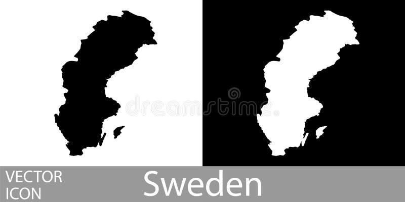 Mapa detalhado da Suécia ilustração royalty free