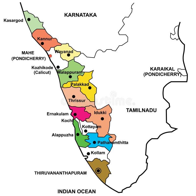 Mapa detalhado de Kerala ilustração stock