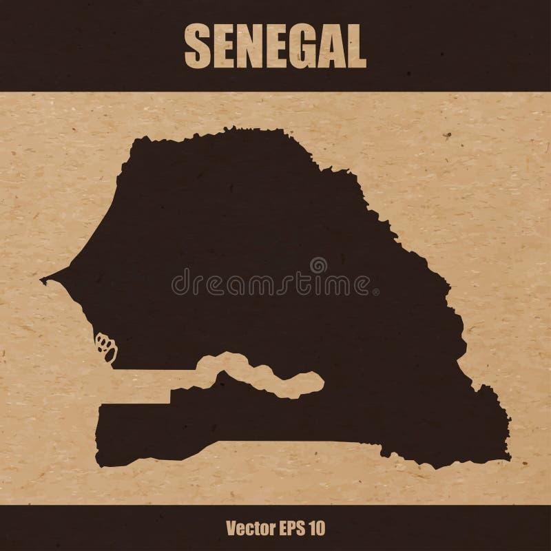 Mapa detalhado de Senegal no fundo do papel do ofício ilustração stock