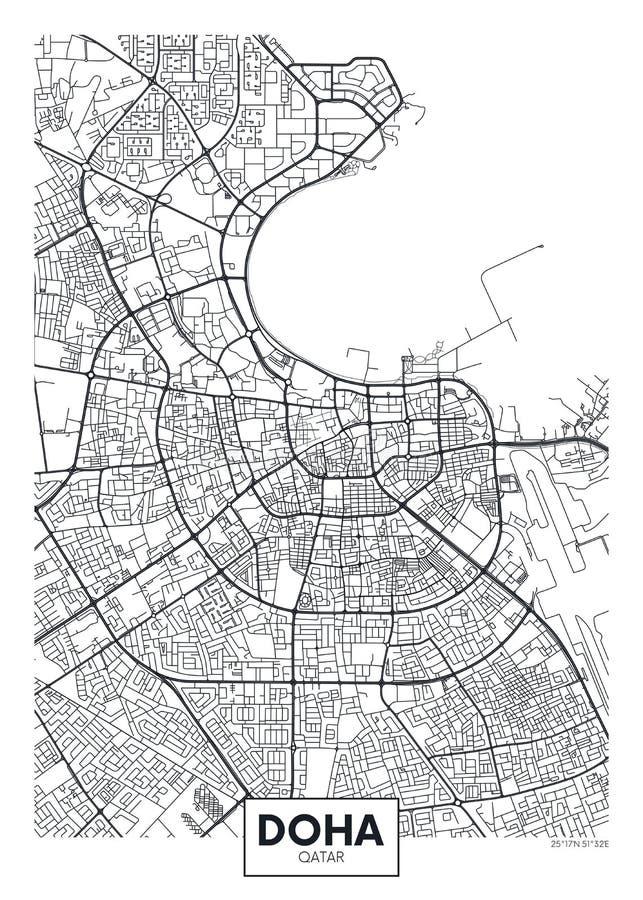 Mapa detalhado Doha da cidade do cartaz do vetor ilustração royalty free