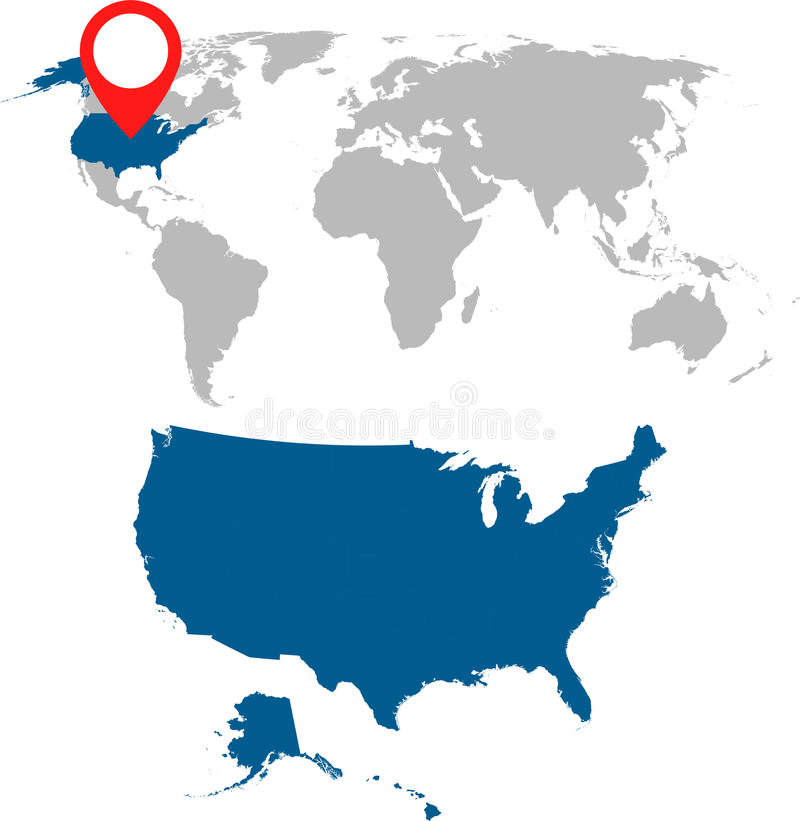 Mapa detalhado dos EUA e do grupo da navegação do mapa do mundo Vetor liso IL ilustração royalty free