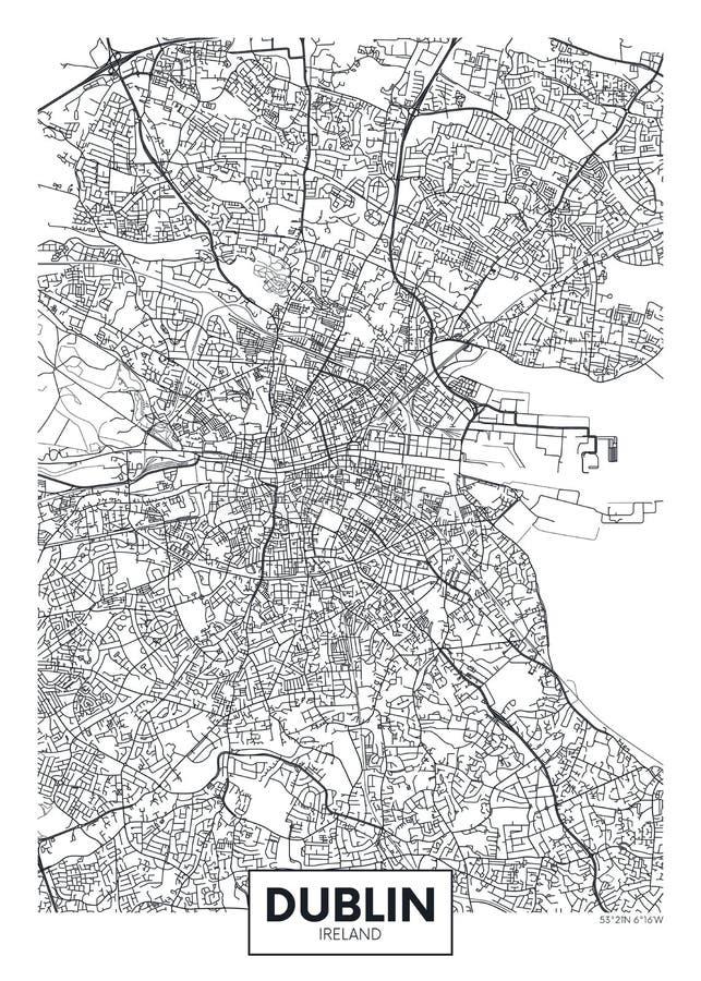 Mapa detalhado Dublin da cidade do cartaz do vetor ilustração royalty free