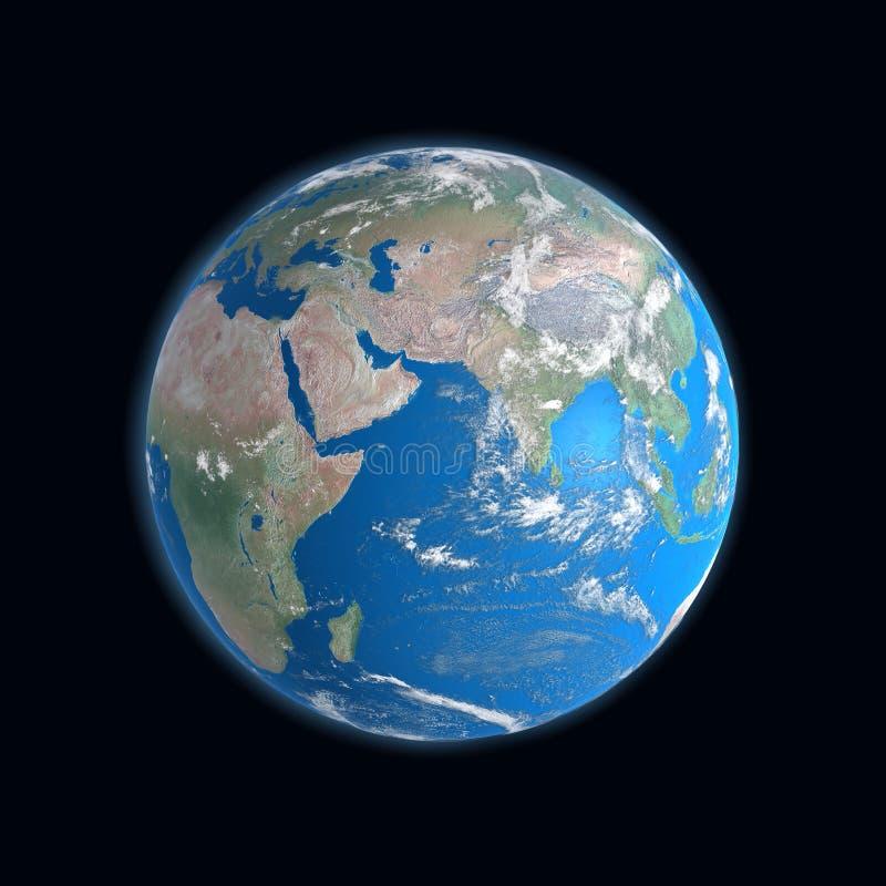 mapa detalhado elevado da terra, África, Ásia, Arábia ilustração do vetor
