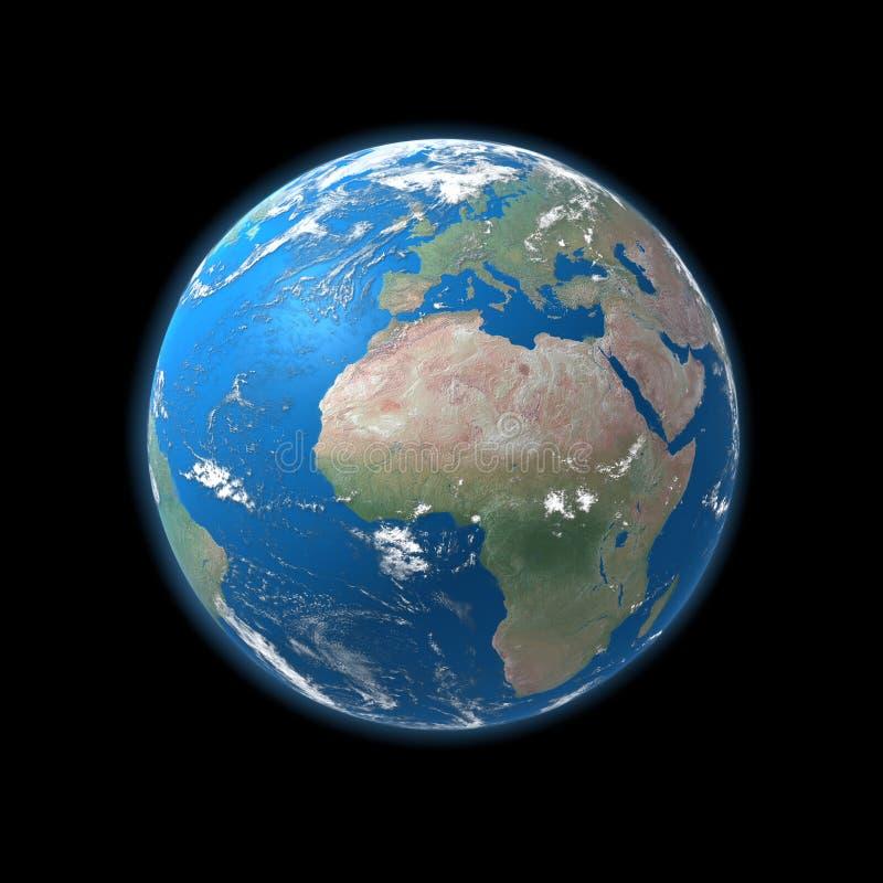 Mapa detalhado elevado da terra, Europa, África ilustração stock