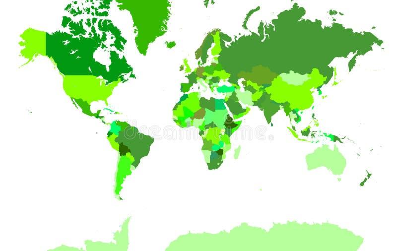 Mapa detalhado extra do mundo ilustração do vetor