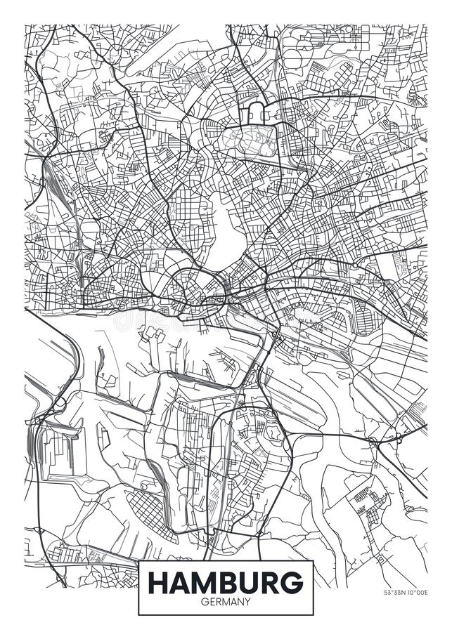 Mapa detalhado Hamburgo da cidade do cartaz do vetor ilustração royalty free