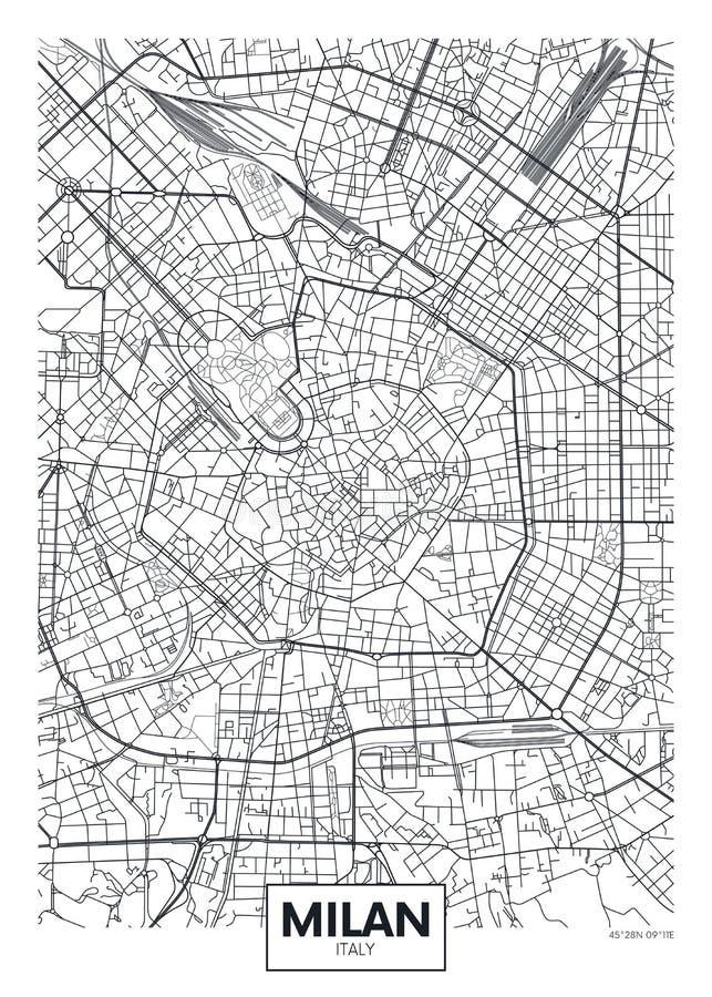 Mapa detalhado Milão da cidade do cartaz do vetor ilustração royalty free