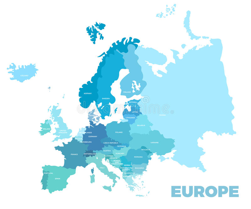 Mapa detalhado moderno de Europa ilustração do vetor