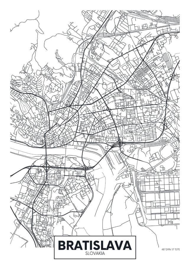Mapa detallado Bratislava de la ciudad del cartel del vector stock de ilustración