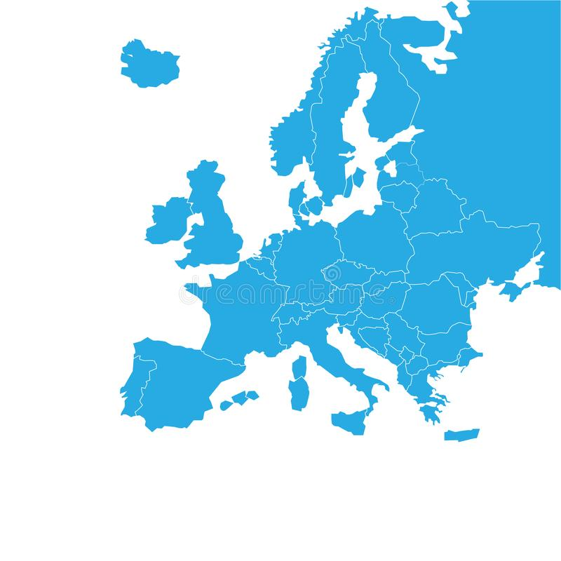 Mapa detallado de la Europa - vector del vector ilustración del vector