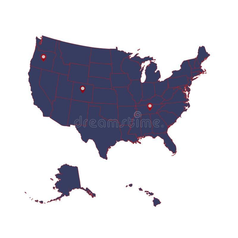 Mapa detallado del continente americano y de los E.E.U.U. incluyendo Alaska y Hawaii Ilustración del vector libre illustration
