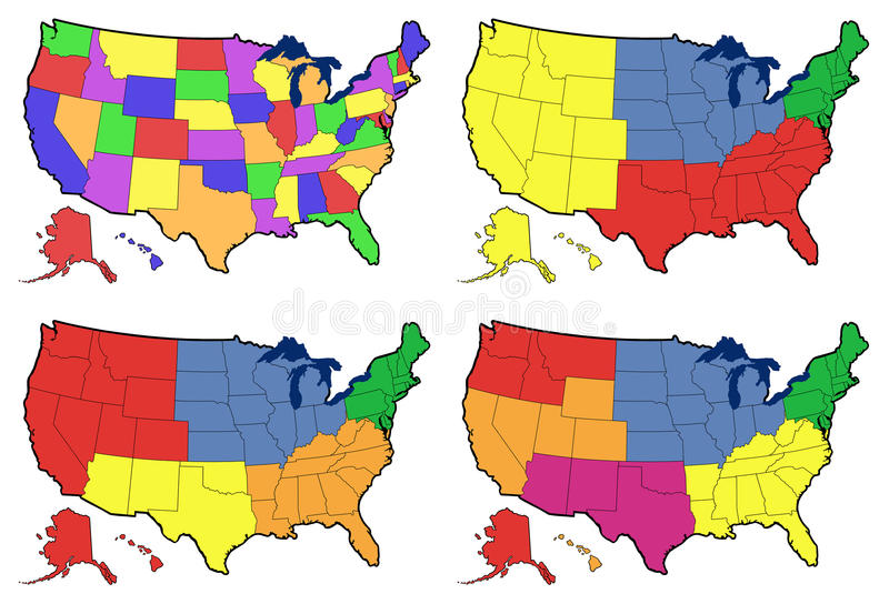 Cuatro versiones del mapa regional de Estados Unidos stock de ilustración