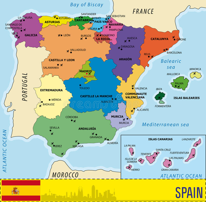 Mapa detallado del vector de España stock de ilustración