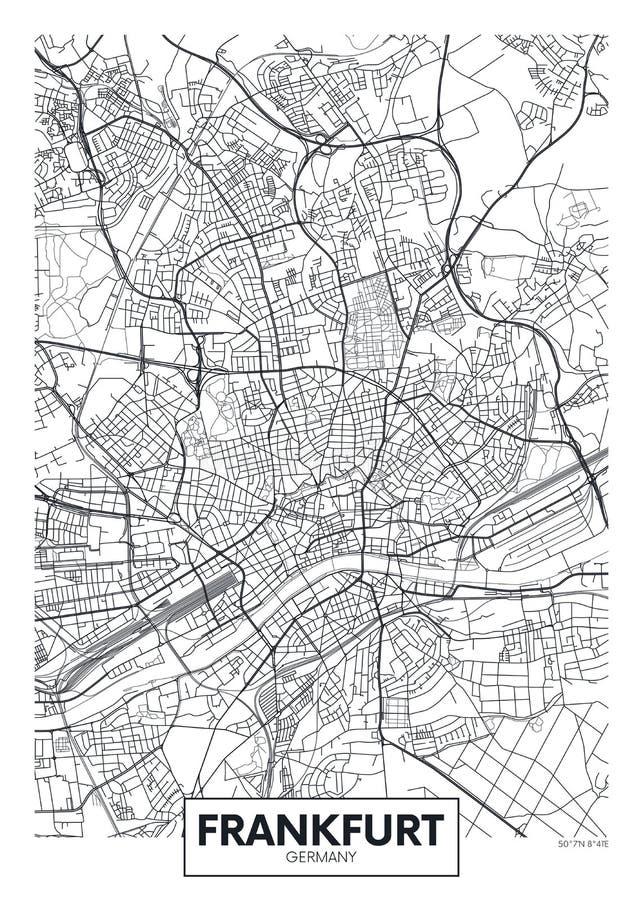 Mapa detallado Francfort de la ciudad del cartel del vector libre illustration