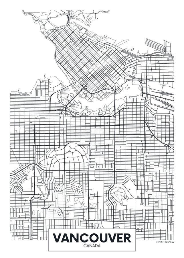 Mapa detallado Vancouver de la ciudad del cartel del vector ilustración del vector