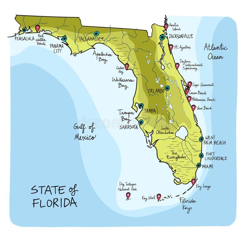 Mapa dibujado mano de la Florida con las ciudades principales y punto del interés ilustración del vector