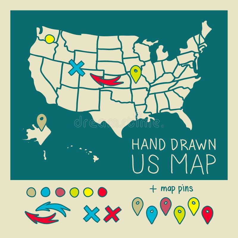 Mapa dibujado mano de los E.E.U.U. con los pernos stock de ilustración