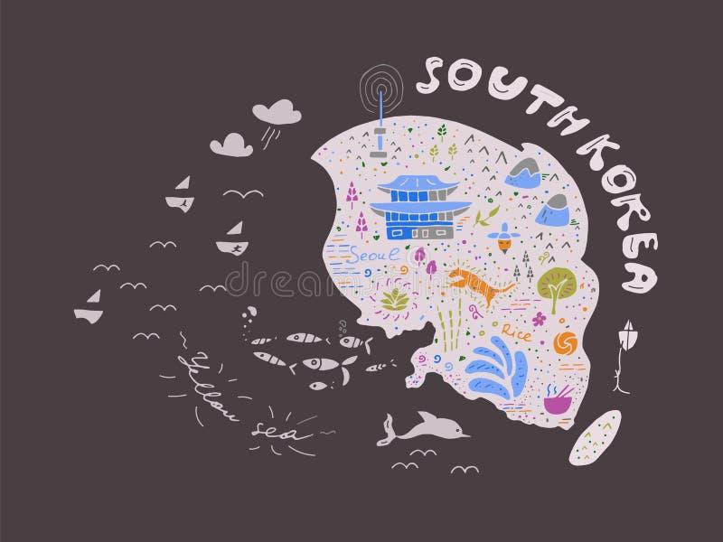 Mapa dibujado mano del ejemplo del vector de la Corea del Sur, diseño libre illustration