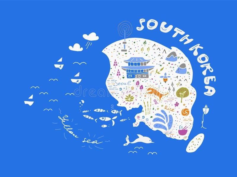Mapa dibujado mano del país del ejemplo del vector de Corea, diseño ilustración del vector