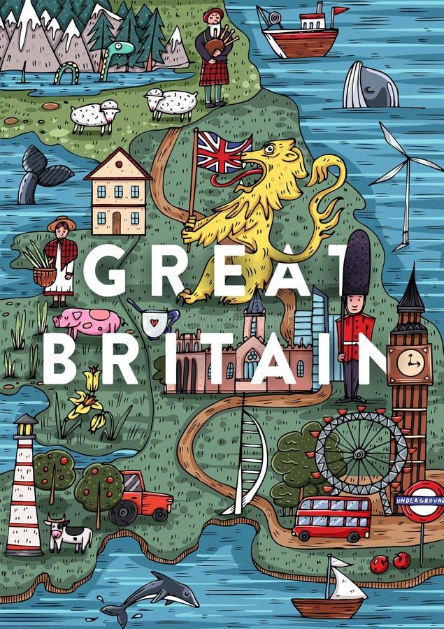 Mapa dibujado mano divertida de Gran Bretaña de la historieta con la mayoría de los lugares populares del interés ilustración del vector