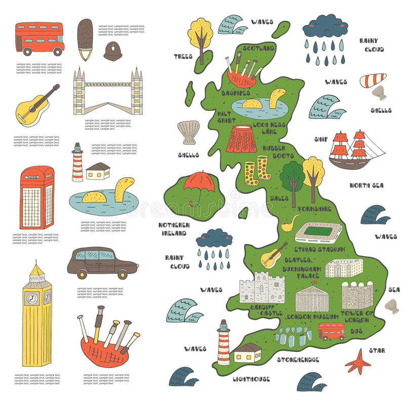 Mapa dibujado mano linda del garabato de Inglaterra libre illustration