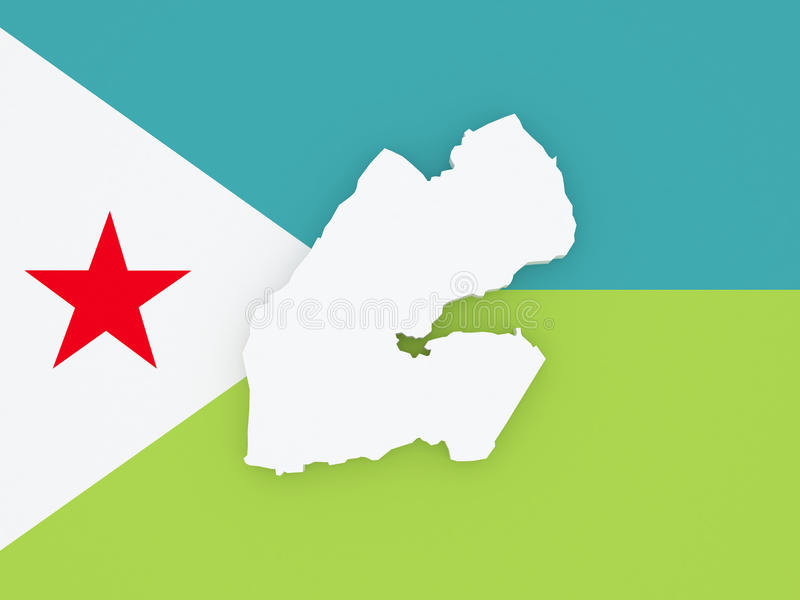 Mapa Djibouti ilustracji
