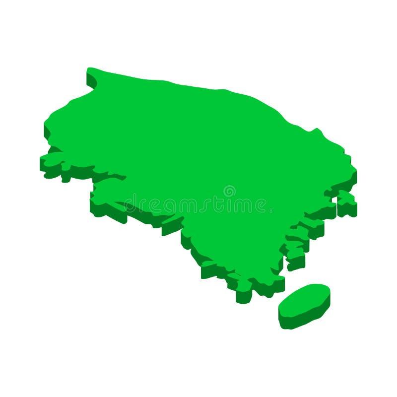 Mapa do ícone de Coreia do Sul, estilo 3d isométrico ilustração stock
