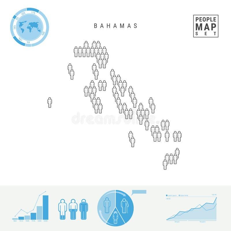 Mapa do ícone dos povos do Bahamas Silhueta estilizado do vetor do Bahamas Crescimento demográfico e envelhecimento Infographics ilustração do vetor