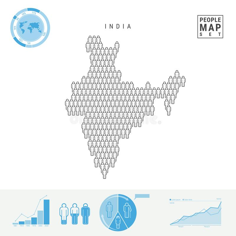 Mapa do ícone dos povos da Índia Silhueta estilizado do vetor da Índia Crescimento demográfico e envelhecimento Infographics ilustração do vetor