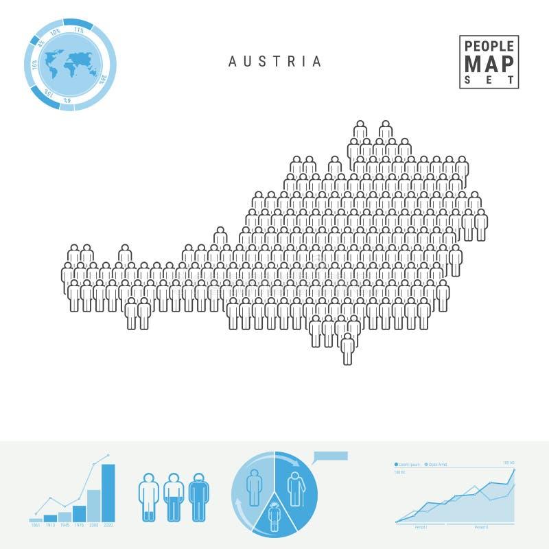 Mapa do ícone dos povos de Áustria Silhueta estilizado do vetor de Áustria Crescimento demográfico e envelhecimento Infographics ilustração royalty free