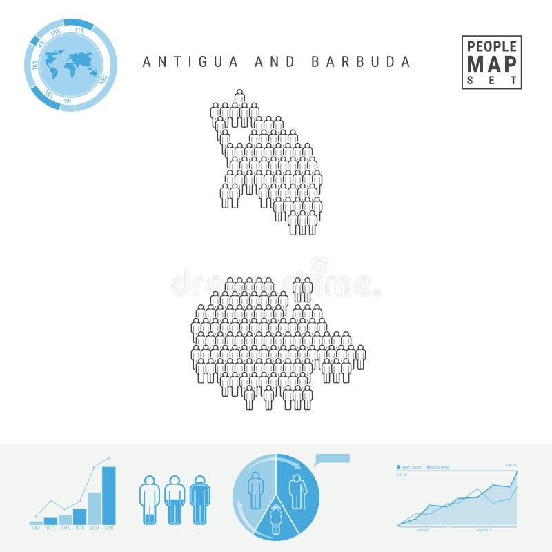 Mapa do ícone dos povos de Antígua e Barbuda Silhueta estilizado do vetor Crescimento demográfico e envelhecimento Infographics ilustração do vetor